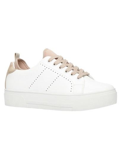 Witte sneakers met poederroze accent