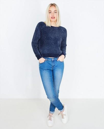 Donkerblauwe velvet sweater