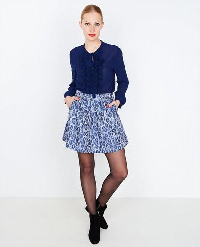 Koningsblauwe blouse met ruches