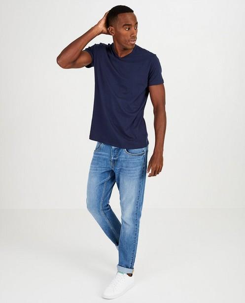 T-shirt bleu foncé en coton bio, col en V  - basique - JBC