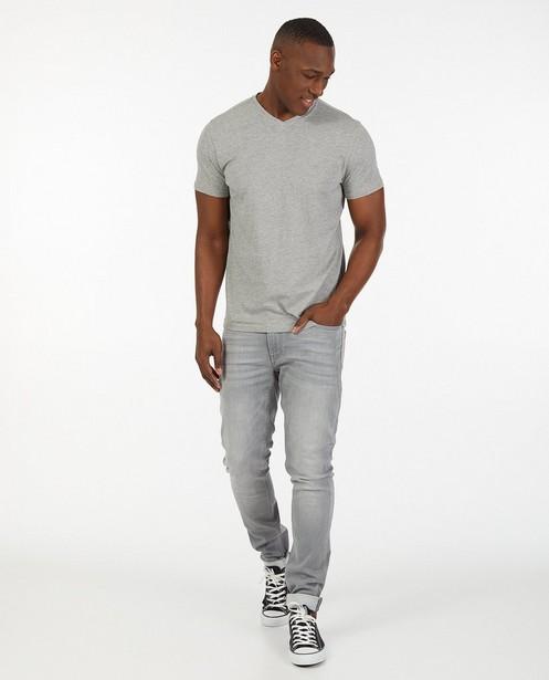 Grijs T-shirt van biokatoen V-hals - basic - JBC