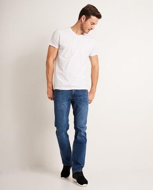 Wit T-shirt van biokatoen V-hals - basic - JBC