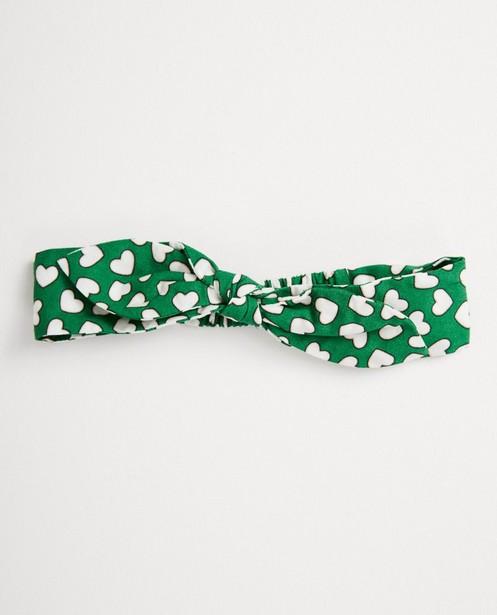 Groen haarbandje met hartjesprint - van viscose - JBC