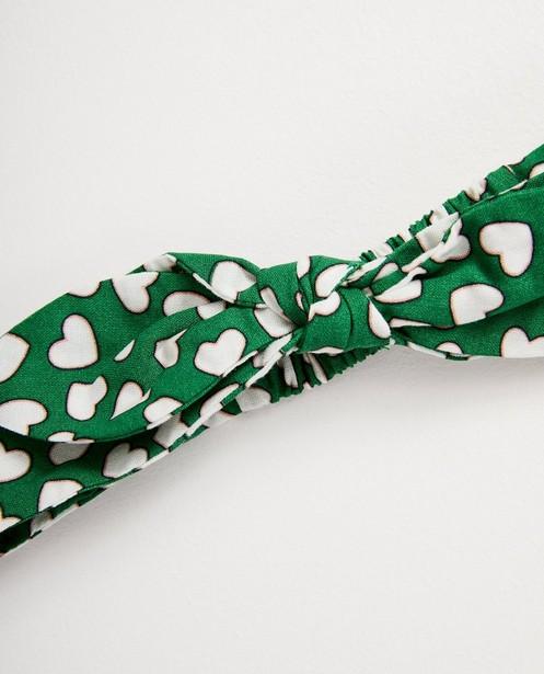 Breigoed - Groen haarbandje met hartjesprint