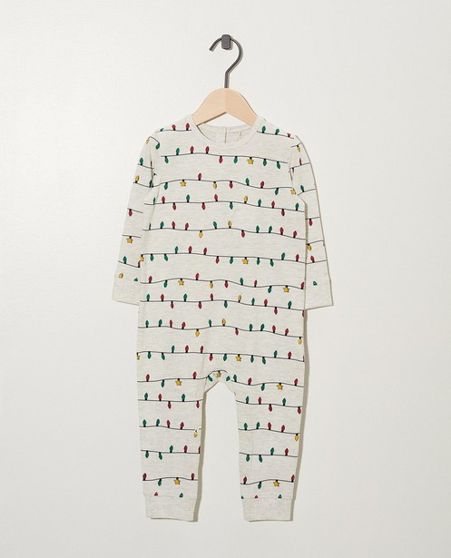 Lichtgrijze pyjama van biokatoen - kerstlichtjesprint - Cuddles and Smiles