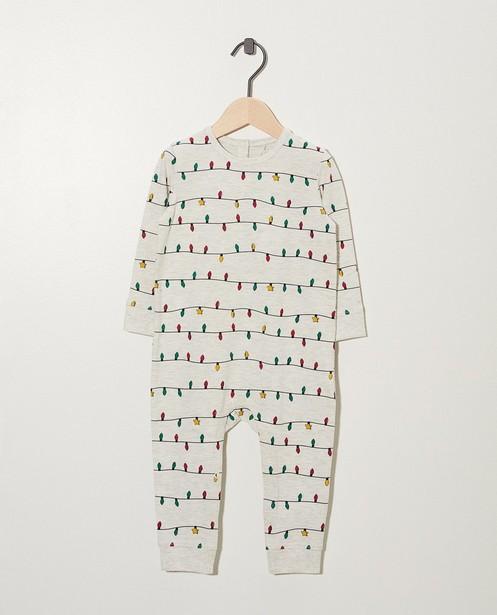 Pyjama gris clair en coton bio - imprimé de petites lampes - Cuddles and Smiles
