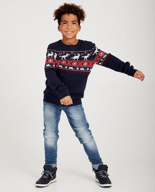 Pull de Noël bleu dino, 7-14 ans - #familystoriesJBC - JBC