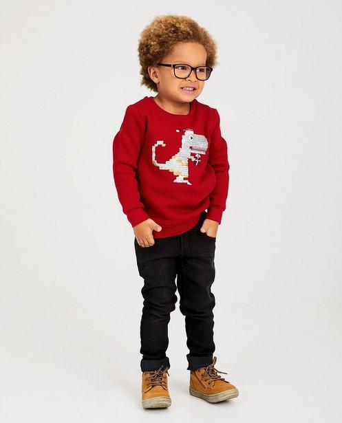 Rode sweater met dino - swipe pailletten - JBC