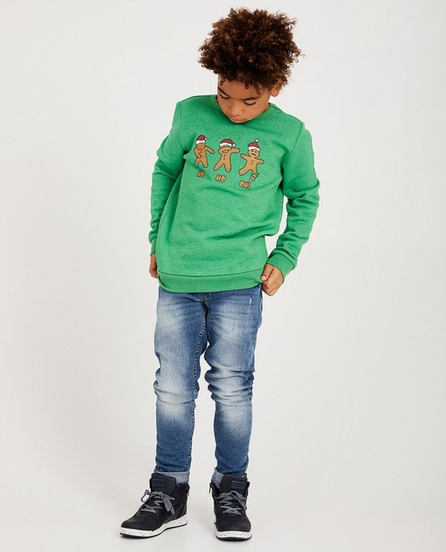 Sweat vert «ho ho ho» 7-14 ans - bonhomme en pain d'épices - JBC