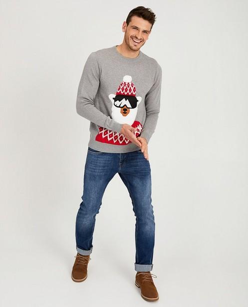 Grijze trui met print - kerst lama - Quarterback