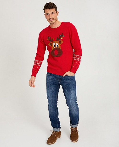 Pull renne rouge fin tricot - petites lampes - JBC