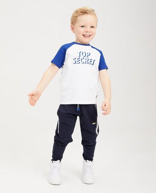 T-shirt blanc à inscription Rox - manches bleues - Rox