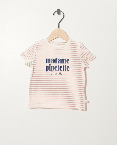 Wit T-shirt van biokatoen (FR) - met opschrift - Cuddles and Smiles