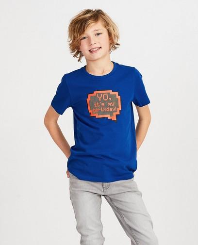 Blauw verjaardagsshirt met print