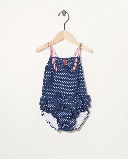 Maillot bleu, protection U.V. - imprimé intégral de pois - Cuddles and Smiles