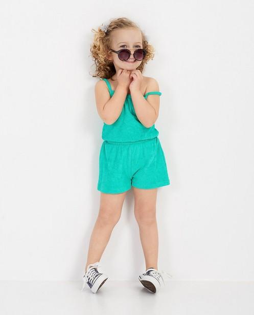 Sponzen jumpsuit in groen - met ananas-patch - Milla Star