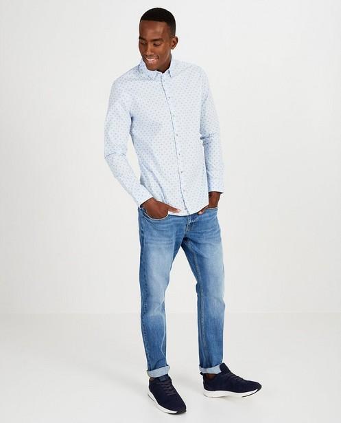 Lichtblauw hemd met print - Slim fit - Quarterback