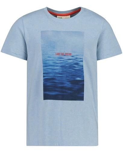 T-shirt bleu en coton bio I AM