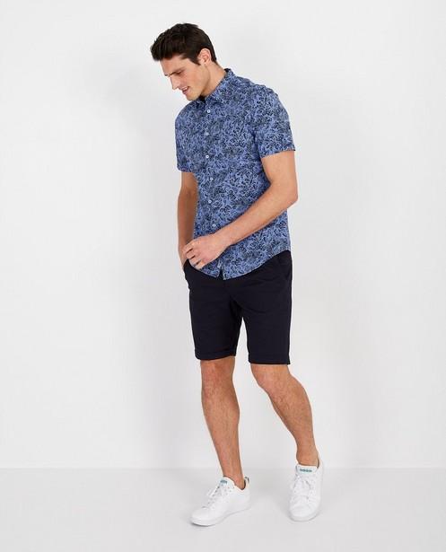 Blauw hemd met print - korte mouwen - Quarterback