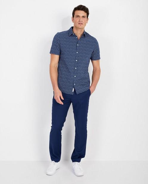Blauw hemd met print - allover - Quarterback