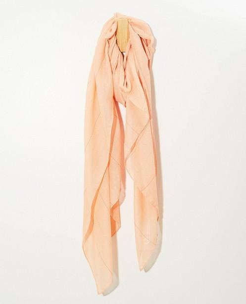 Oranjeroze sjaal met strepen Pieces - met metaaldraad - Pieces