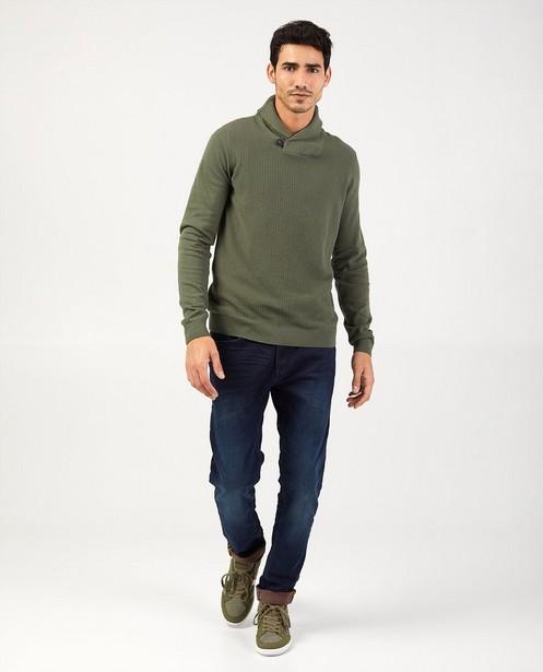 Groene trui met sjaalkraag - met gebreid patroon - Quarterback