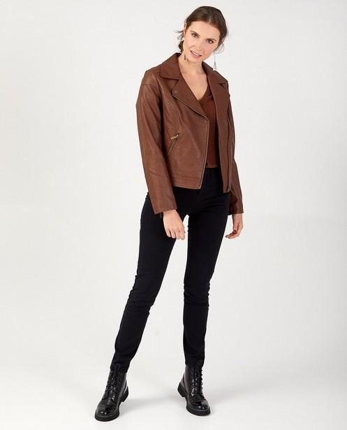 Bruine jas in faux-leather Sora - met ritssluiting - Sora