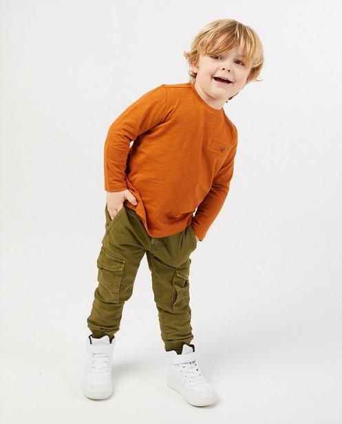 T-shirt brun à manches longues en coton bio - stretch - Kidz Nation