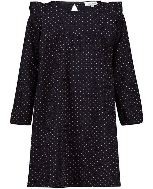 Donkerblauwe jurk met stipjes - allover - Milla Star