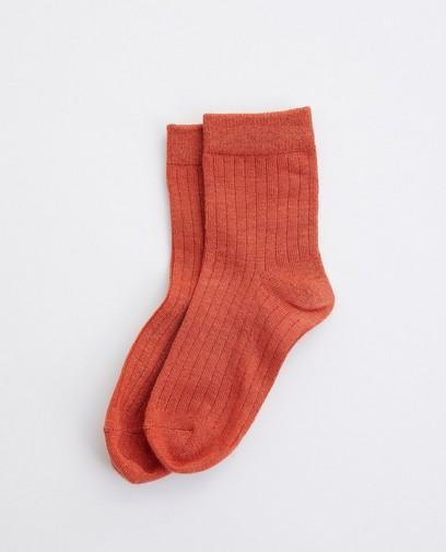 Chaussettes orange, fil métallisé