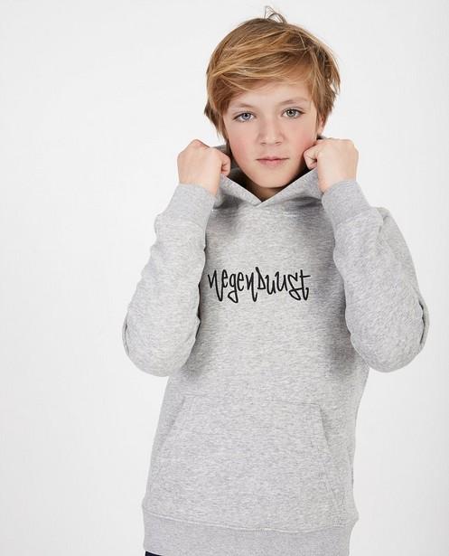 Grijze unisex hoodie Negenduust - met opschrift - Negenduust