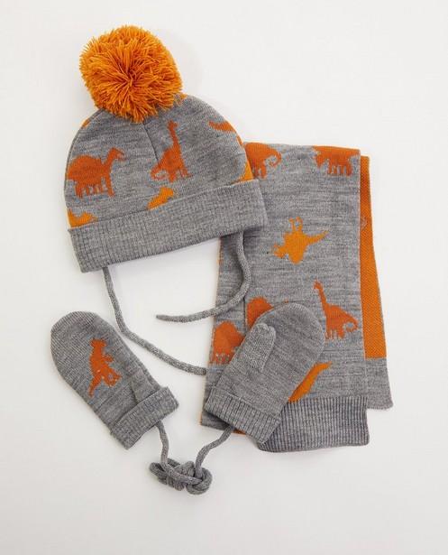 Ensemble bonnet, écharpe et moufles - dino - fin tricot - JBC