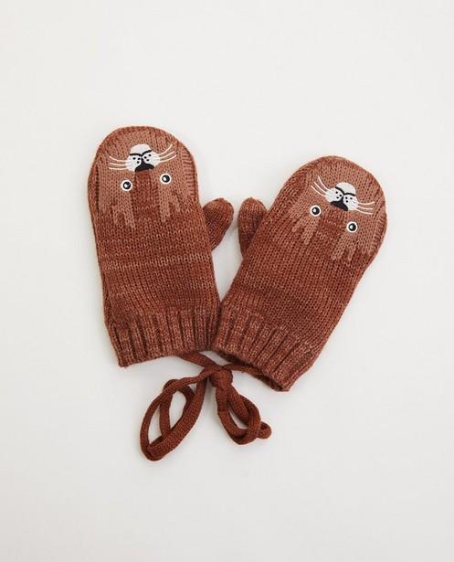 Bruine handschoenen - tijger - met verbindingskoord - JBC