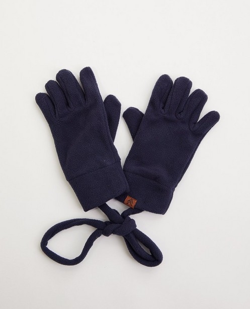 Blauwe handschoenen van fleece - met verbindingskoord - JBC