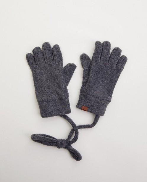 Grijze handschoenen van fleece - met verbindingskoord - JBC