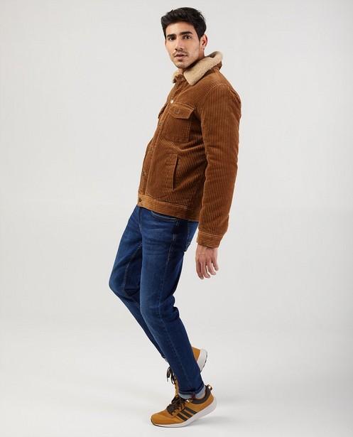 Manteau brun en velours côtelé - avec doublure peluche - JBC