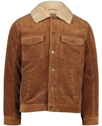Manteau brun en velours côtelé