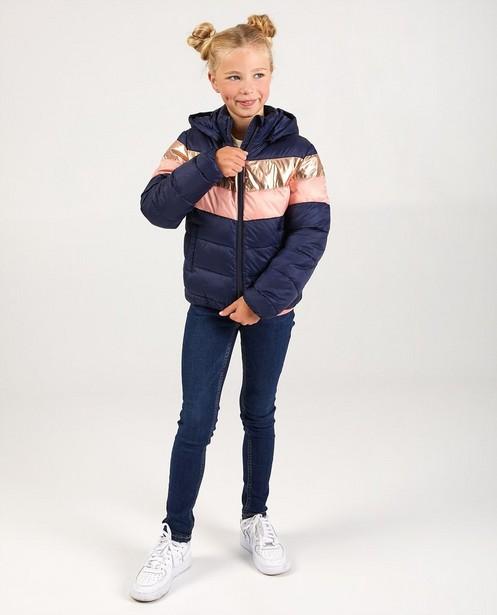 Donkerblauwe jas met strepen - met afneembare kap - JBC