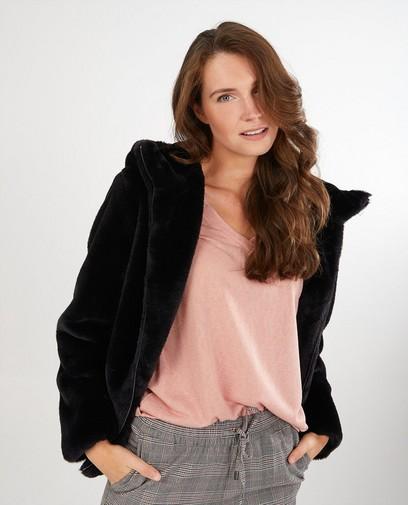 Manteau noir en fausse fourrure Sora