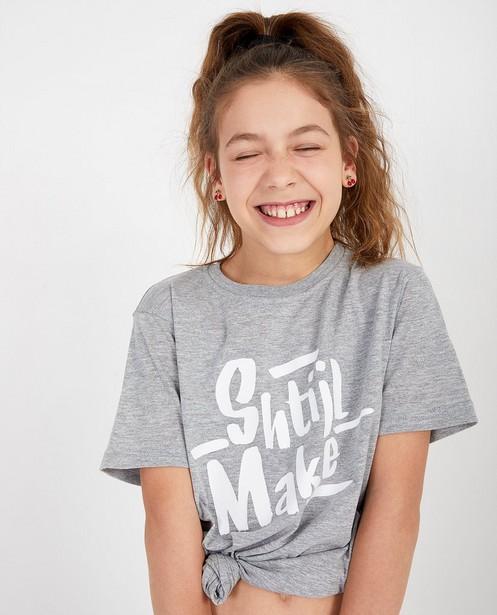 Unisex grijs T-shirt Genkse Shtijl - met opschrift - Genkse Shtijl