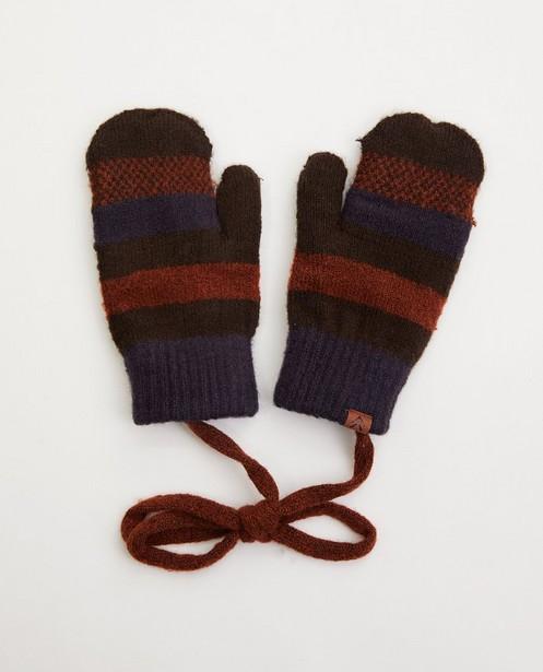 Gestreepte handschoenen met fleece - met verbindingskoord - JBC