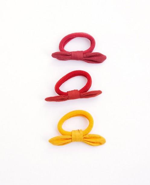 Set van 3 haarelastieken met strik - roze, rood en geel - Milla Star
