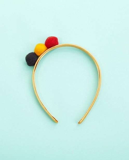 Geel diadeempje met pompon - blauw, geel en rood - Milla Star