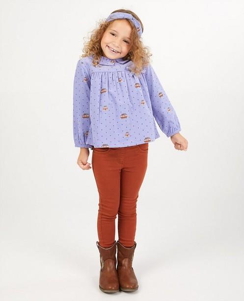 Lila blouse met print Samson - van ribfluweel - Samson
