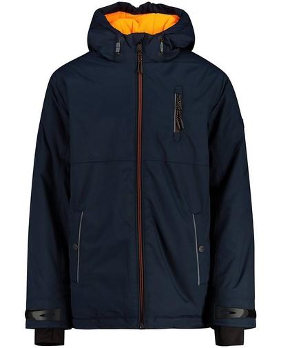 Manteau d'hiver bleu avec détails fluo