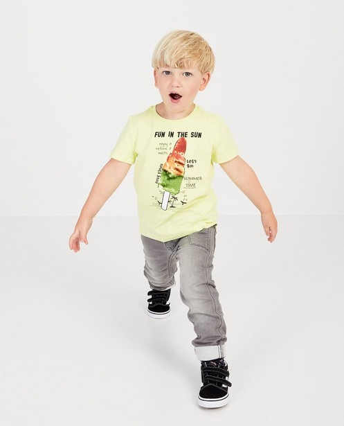 Geel T-shirt met pailletten - op de borst - JBC