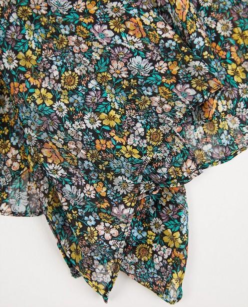 Breigoed - Zwarte sjaal met bloemenprint