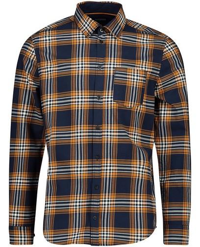 Chemise bleue et orange à carreaux