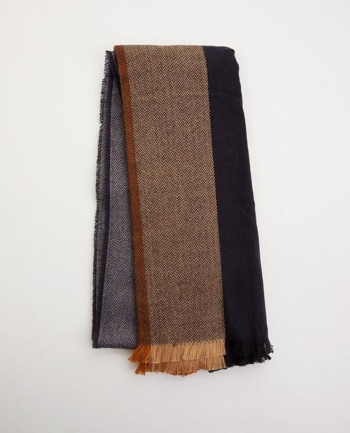 Donkerblauwe sjaal met motief - met franjes - JBC