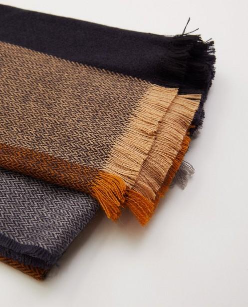 Breigoed - Donkerblauwe sjaal met motief